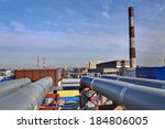 Small photo of Aboveground pipeline leading to Thermal power station, bridged pipeline