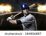 baseball player on a blue... | Shutterstock . vector #184806887