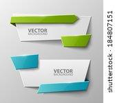 origami vector banners set  | Shutterstock .eps vector #184807151