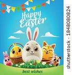 Easter Greeting Card With Eggs...