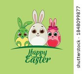 easter greeting card with eggs... | Shutterstock .eps vector #1848099877