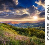 summer landscape. village on... | Shutterstock . vector #184810271