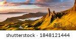 Beautiful vibrant Summer sunrise at The Old Man of Storr on the Isle of Skye, Scotland, UK.
