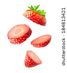 falling strawberry isolated on... | Shutterstock . vector #184813421