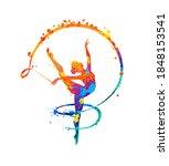 rhythmic gymnastics girl with... | Shutterstock .eps vector #1848153541
