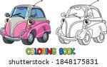 funny small retro car with eyes.... | Shutterstock .eps vector #1848175831