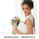 wedding. beautiful bride with... | Shutterstock . vector #184819211