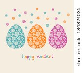 vector easter card. color eggs... | Shutterstock .eps vector #184824035