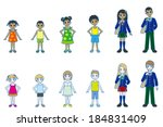 various people  whole body style | Shutterstock .eps vector #184831409