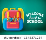 back to school backpack vector... | Shutterstock .eps vector #1848371284