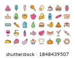 bundle of forty food set icons... | Shutterstock .eps vector #1848439507