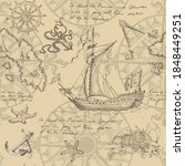 old caravel  vintage sailboat ... | Shutterstock . vector #1848449251