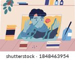 flat vector cartoon simple... | Shutterstock .eps vector #1848463954