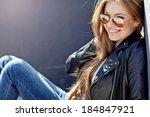 beautiful fashionable young... | Shutterstock . vector #184847921