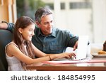 father and teenage daughter... | Shutterstock . vector #184854995