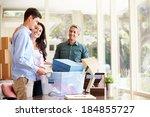 parents helping teenage son... | Shutterstock . vector #184855727