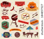 set of barbecue labels icons | Shutterstock .eps vector #184857527