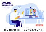 collective virtual meeting. man ... | Shutterstock .eps vector #1848575344