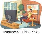cartoon man watching tv in the... | Shutterstock .eps vector #1848615751
