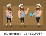 cartoon flat funny bearded fat...   Shutterstock .eps vector #1848619057