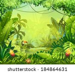 jungle toucan and flower. for... | Shutterstock .eps vector #184864631