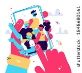 hands holding mobile phone with ... | Shutterstock .eps vector #1848680161