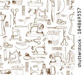 seamless pattern  sewing tools | Shutterstock .eps vector #184869557