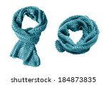 pair of blue knitted mohair... | Shutterstock . vector #184873835