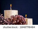 Two Golden Candles Burning With ...