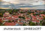 The panoramic cityscape of the historical center of Veszprem, Hungary.