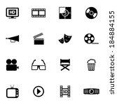 vector black cinema icon set on ... | Shutterstock .eps vector #184884155