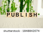 Small photo of the word publish is written on cubes and greens on a white background behind. Publishing news concept. High quality photo