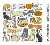 world cats day. collection of... | Shutterstock .eps vector #1848858487