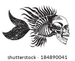 skull tattoo / t-shirt graphics - stock vector