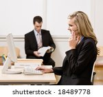 businesswoman talking on... | Shutterstock . vector #18489778
