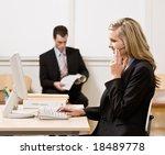 businesswoman talking on... | Shutterstock . vector #18489778