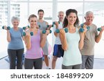 fitness class exercising with