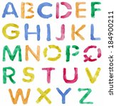 colorful watercolor alphabet... | Shutterstock .eps vector #184900211