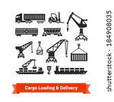 cargo loading  lifting and... | Shutterstock .eps vector #184908035