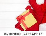 red knitted sweater  santa hat  ... | Shutterstock . vector #1849124467