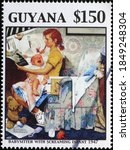 Small photo of Milan, Italy - October 28, 2020: Babysitter with screaming infant by Norman Rockwell on stamp