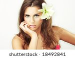 close up of beautiful girl with ... | Shutterstock . vector #18492841