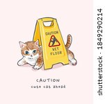 caution slogan with cute cat...   Shutterstock .eps vector #1849290214