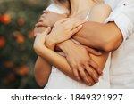 Close Up Of A Hands Hugging....