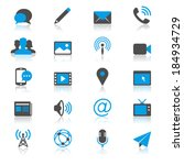 media and communication flat... | Shutterstock .eps vector #184934729