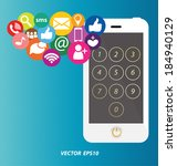 social media on smartphone | Shutterstock .eps vector #184940129