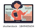 female teacher on laptop... | Shutterstock .eps vector #1849405654