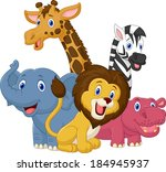 happy safari animal cartoon | Shutterstock .eps vector #184945937