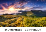 Stock photo beautiful summer landscape in the mountains sunrise 184948304