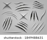 realistic claw scratch. paper... | Shutterstock .eps vector #1849488631